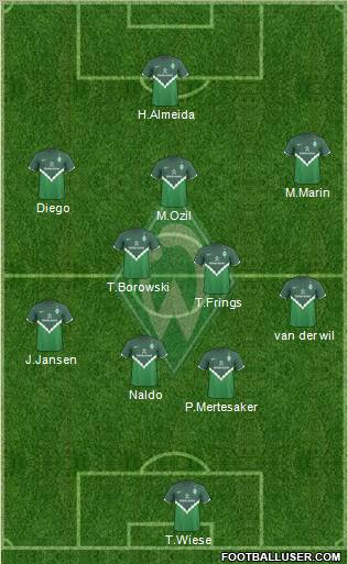 Werder Bremen 4-3-2-1 football formation