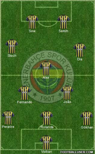 Fenerbahçe sk 4 2 1 3 football formation volkan egemen alves