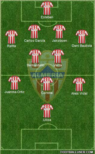 U.D. Almería S.A.D. 4-2-3-1 football formation