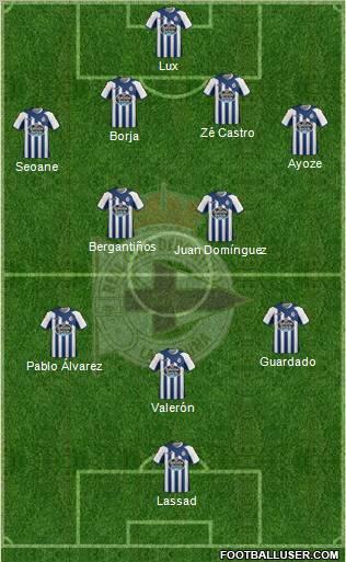 R.C. Deportivo de La Coruña S.A.D. 4-3-2-1 football formation