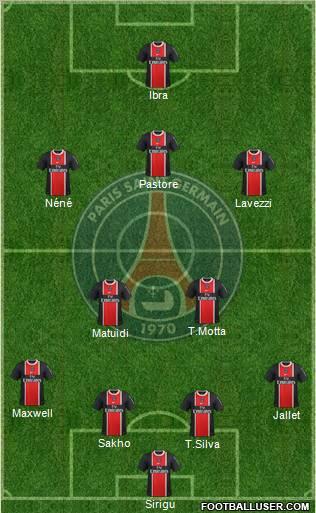 Paris saint germain 4 2 3 1 football formation