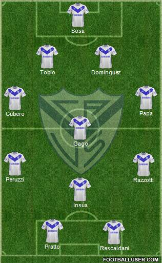 Vélez Sarsfield 4-4-2 football formation