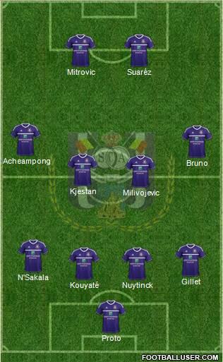 RSC Anderlecht 4-4-2 football formation