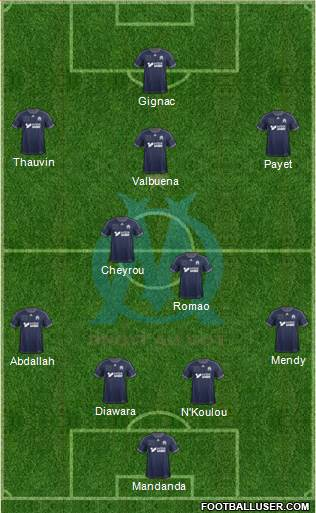Olympique de Marseille 4-3-2-1 football formation