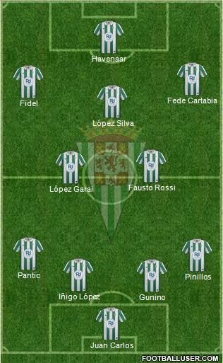 Córdoba C.F., S.A.D. 4-5-1 football formation