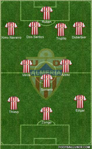 U.D. Almería S.A.D. 5-3-2 football formation