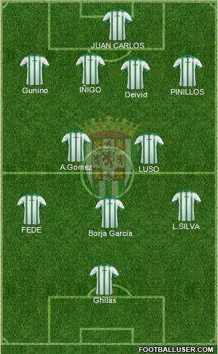 Córdoba C.F., S.A.D. 3-4-3 football formation