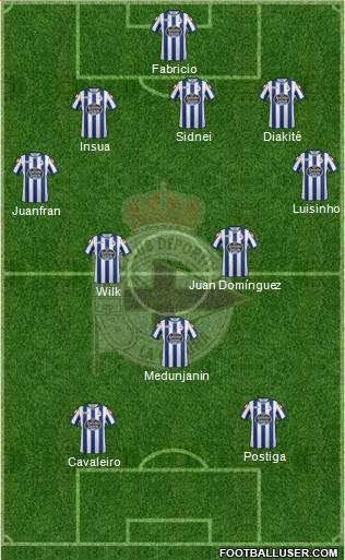 R.C. Deportivo de La Coruña S.A.D. 3-4-3 football formation