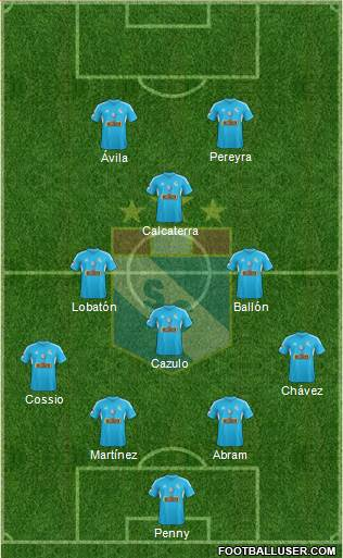 C Sporting Cristal S.A. 4-4-2 football formation