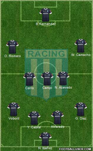 Racing Club 4-3-2-1 football formation