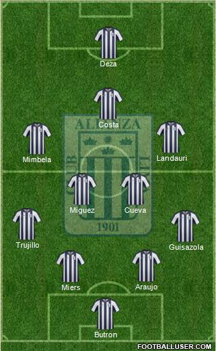 C Alianza Lima 5-3-2 football formation
