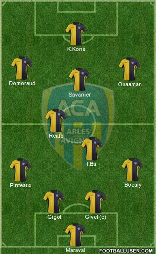 Athlétic Club Arles-Avignon 4-5-1 football formation
