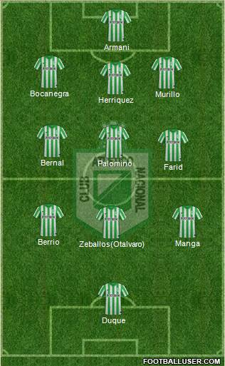 CDC Atlético Nacional 3-5-1-1 football formation