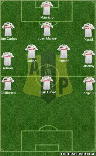 Alianza Petrolera AS 3-4-3 football formation