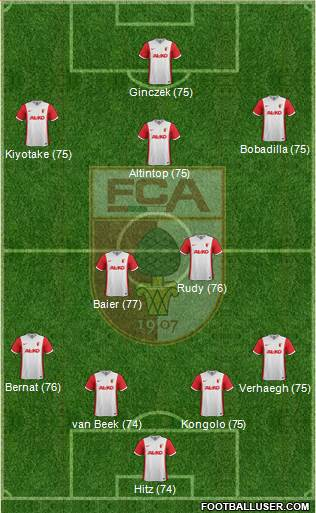 FC Augsburg 4-2-3-1 football formation