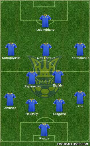Ukraine 3-5-1-1 football formation