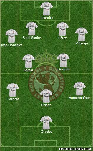 Cultural y Dep. Leonesa 4-2-3-1 football formation