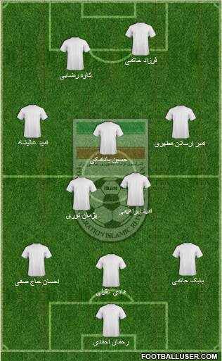 Iran 3-4-2-1 football formation