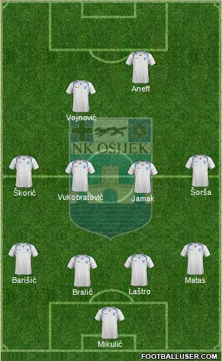 NK Osijek 4-4-1-1 football formation