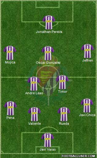 R. Valladolid C.F., S.A.D. 3-5-1-1 football formation