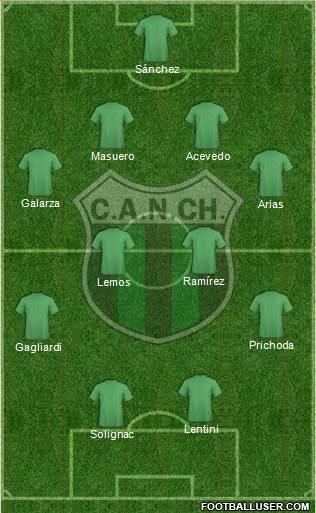 Nueva Chicago 4-1-4-1 football formation