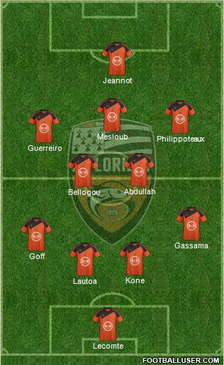 FC Lorient Bretagne Sud 4-2-3-1 football formation