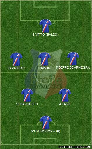 Etoile FC 5-4-1 football formation