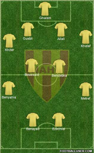 Nasr Athletic Hussein-Dey 4-2-2-2 football formation