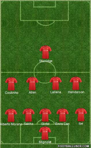 Liverpool 5-4-1 football formation