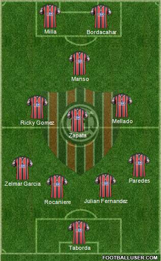 Chacarita Juniors 4-3-1-2 football formation
