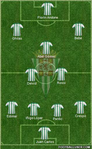 Córdoba C.F., S.A.D. 4-4-1-1 football formation