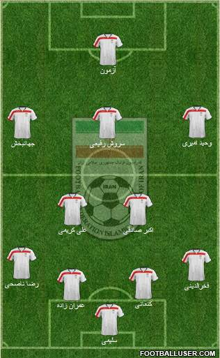 Iran 4-2-3-1 football formation