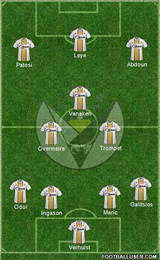 Sporting Lokeren OVl 4-2-1-3 football formation