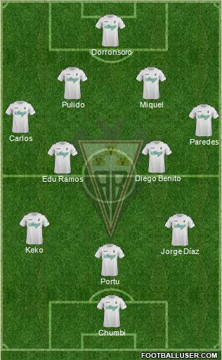 Albacete B., S.A.D. 4-4-1-1 football formation
