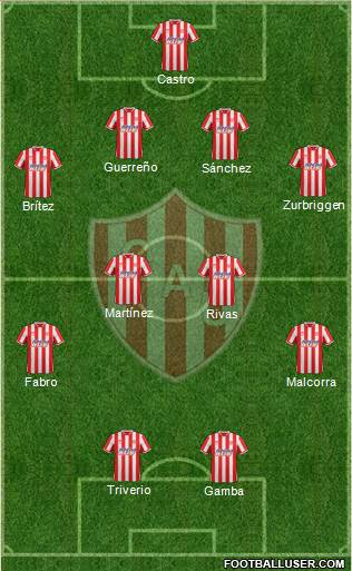 Unión de Santa Fe 4-1-4-1 football formation