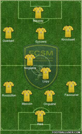 FC Sochaux-Montbéliard 4-2-3-1 football formation