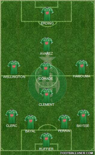 A.S. Saint-Etienne 4-4-1-1 football formation