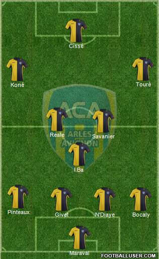 Athlétic Club Arles-Avignon 4-3-3 football formation