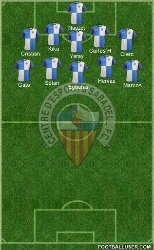 C.E. Sabadell 5-4-1 football formation