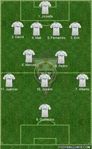 Albacete B., S.A.D. 5-4-1 football formation