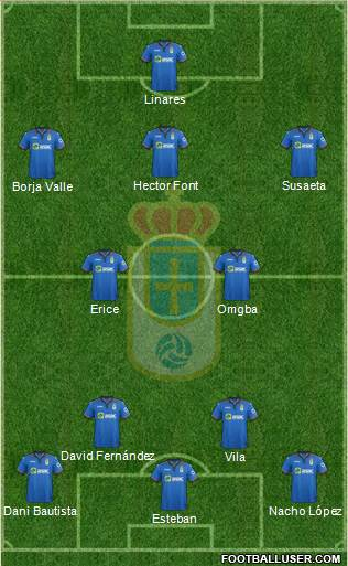 Real Oviedo S.A.D. 4-2-3-1 football formation