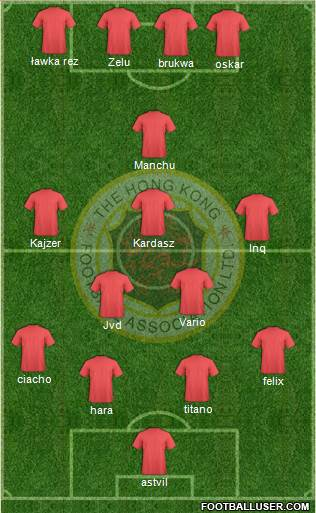 Hong Kong League XI 4-2-3-1 football formation