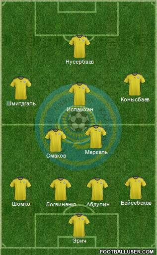 Kazakhstan 4-2-3-1 football formation