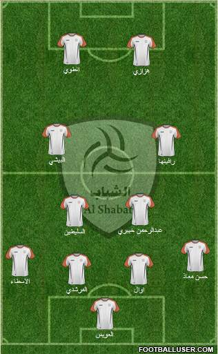 Al-Shabab (KSA) 4-2-2-2 football formation