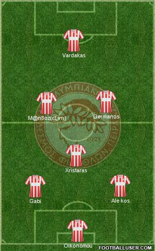 Olympiakos SF Piraeus 3-4-2-1 football formation