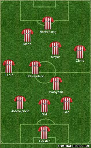 Southampton 3-4-2-1 football formation