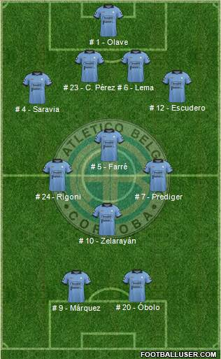 Belgrano de Córdoba 4-3-1-2 football formation