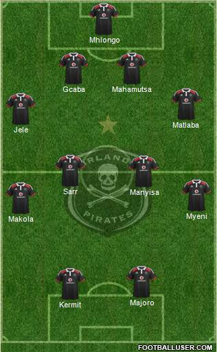 Orlando Pirates 4-2-3-1 football formation