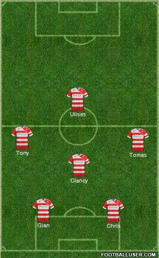 Doncaster Rovers 5-4-1 football formation