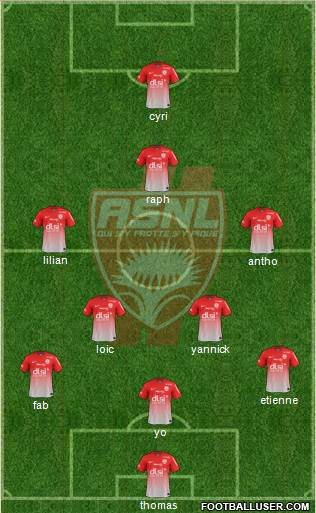 A.S. Nancy Lorraine 5-3-2 football formation